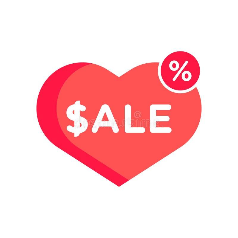 Icona di amore di vendita isolata su fondo bianco illustrazione di stock