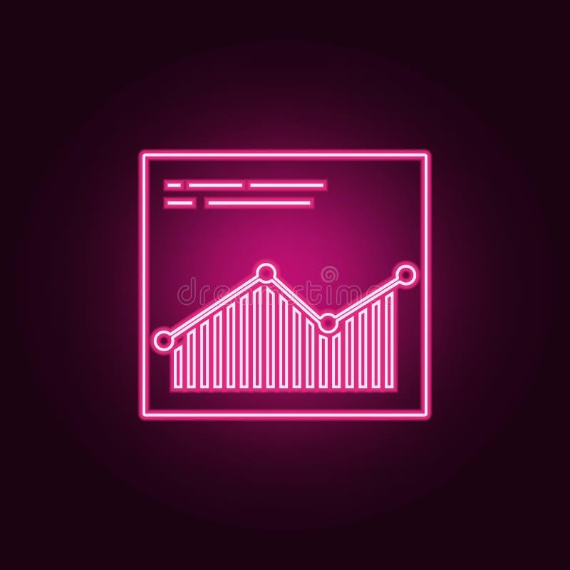 icona di analisi dei dati del browsersite Elementi di sviluppo Web nelle icone al neon di stile Icona semplice per i siti Web, we illustrazione vettoriale
