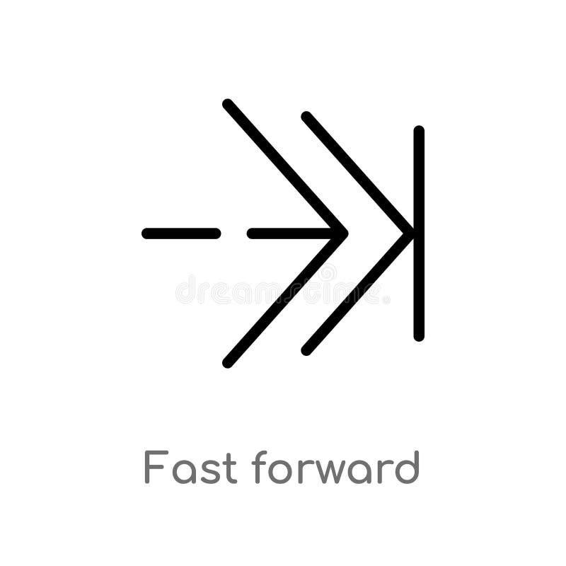 icona di andata veloce di vettore del profilo linea semplice nera isolata illustrazione dell'elemento dal concetto delle frecce 2 illustrazione vettoriale