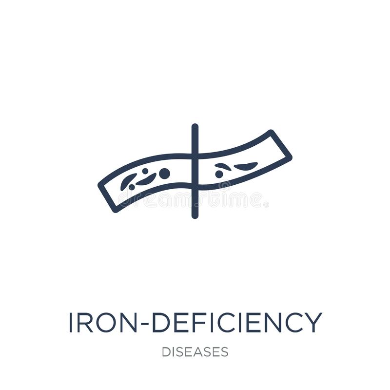 Icona di anemia sideropenica Vettore piano d'avanguardia da carenza di ferro illustrazione vettoriale