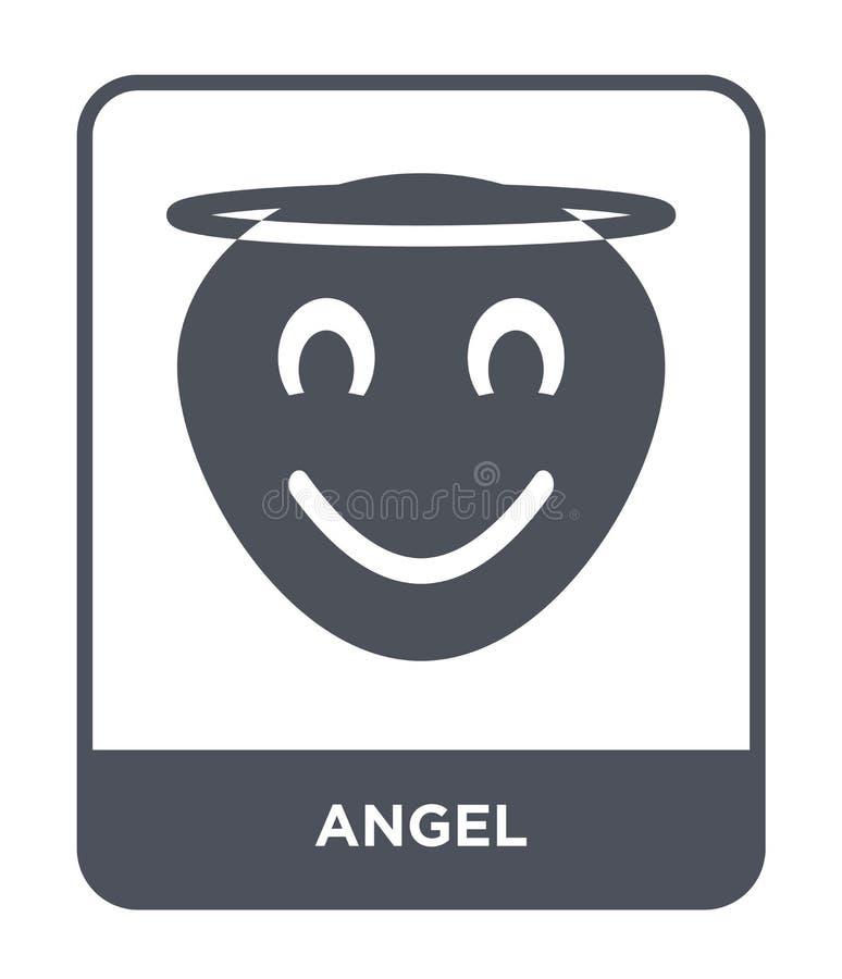 icona di angelo nello stile d'avanguardia di progettazione Icona di angelo isolata su fondo bianco simbolo piano semplice e moder illustrazione di stock