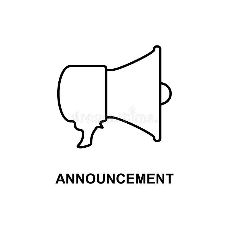 icona di annuncio del megafono Elemento del cinema per i apps mobili di web e di concetto La linea sottile icona di annuncio del  royalty illustrazione gratis