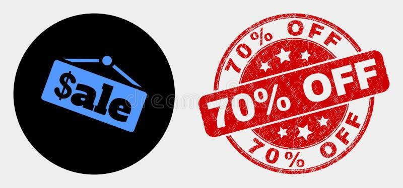 Icona di annuncio della vendita vettoriale e disturbo 70% del segnale di chiusura della lampada royalty illustrazione gratis