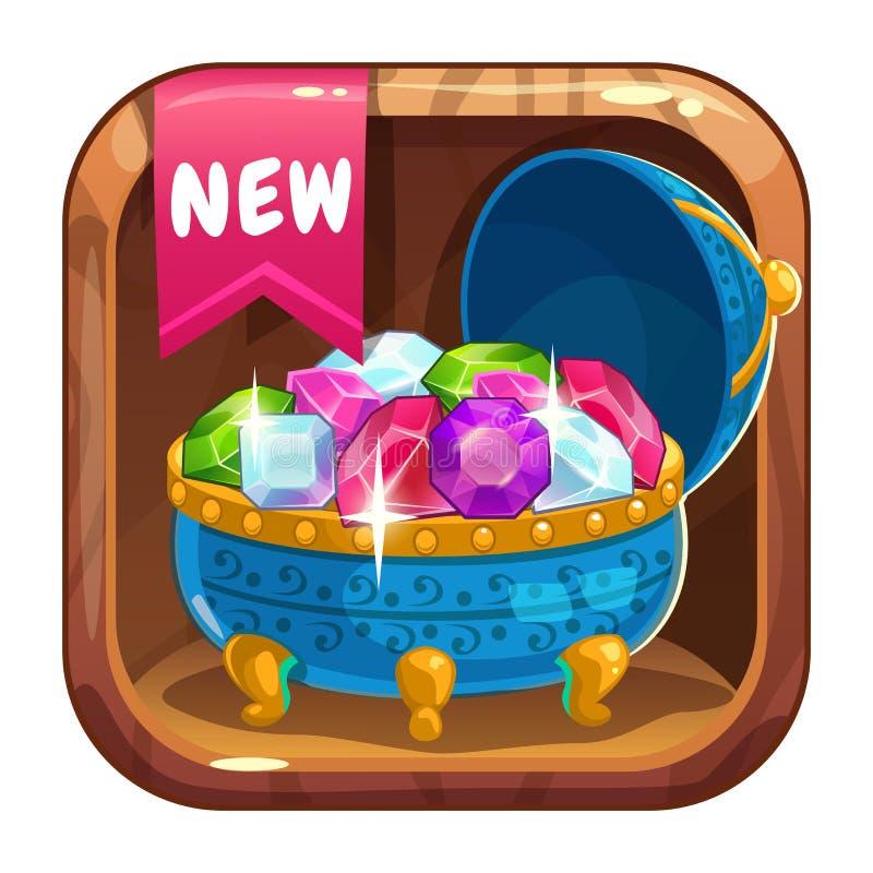 Icona di App con il cofanetto blu delle gemme royalty illustrazione gratis