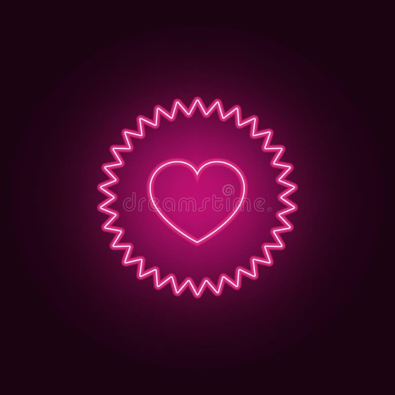 icona di appello del cuore Elementi del biglietto di S. Valentino nelle icone al neon di stile E royalty illustrazione gratis