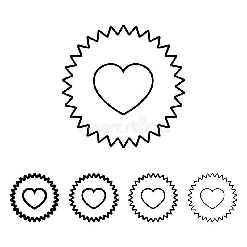 icona di appello del cuore nello stile differente di spessore Uno dell'icona della raccolta del biglietto di S. Valentino può ess illustrazione vettoriale