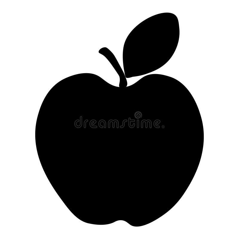 Icona di Apple, frutta Siluetta di Apple con la foglia royalty illustrazione gratis