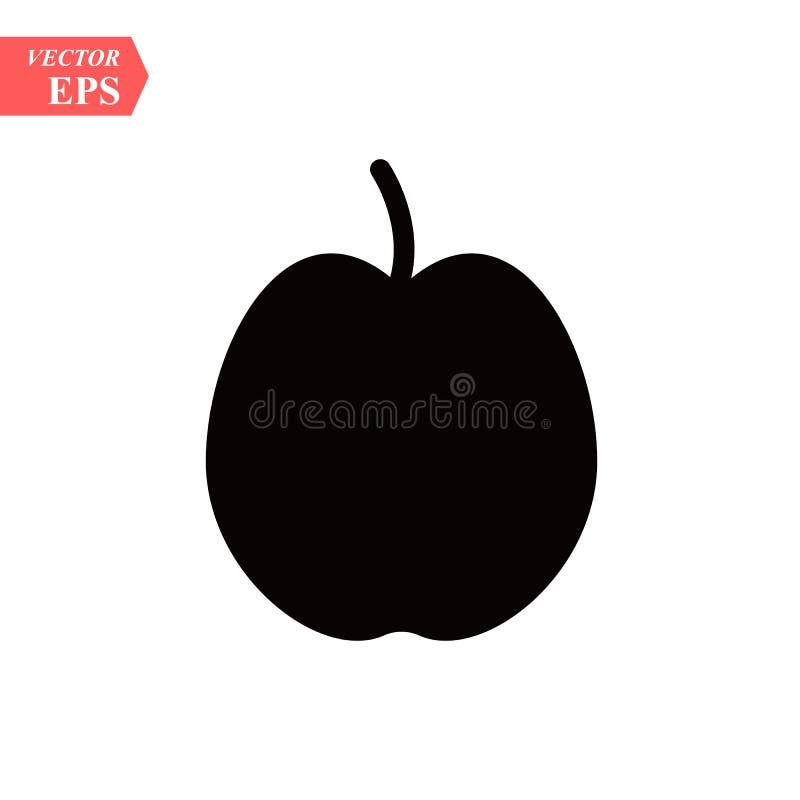 Icona di Apple nello stile nero della siluetta Vector l'illustrazione con Apple ha isolato su fondo bianco oggetto nero f della f illustrazione di stock