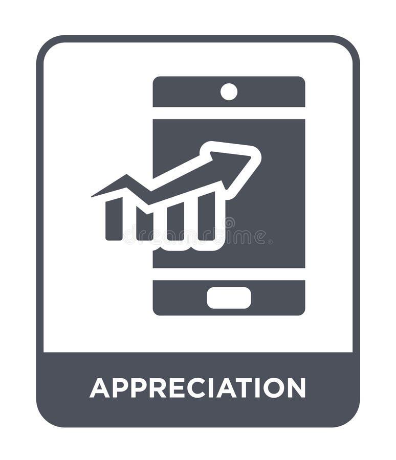 icona di apprezzamento nello stile d'avanguardia di progettazione icona di apprezzamento isolata su fondo bianco icona di vettore illustrazione di stock