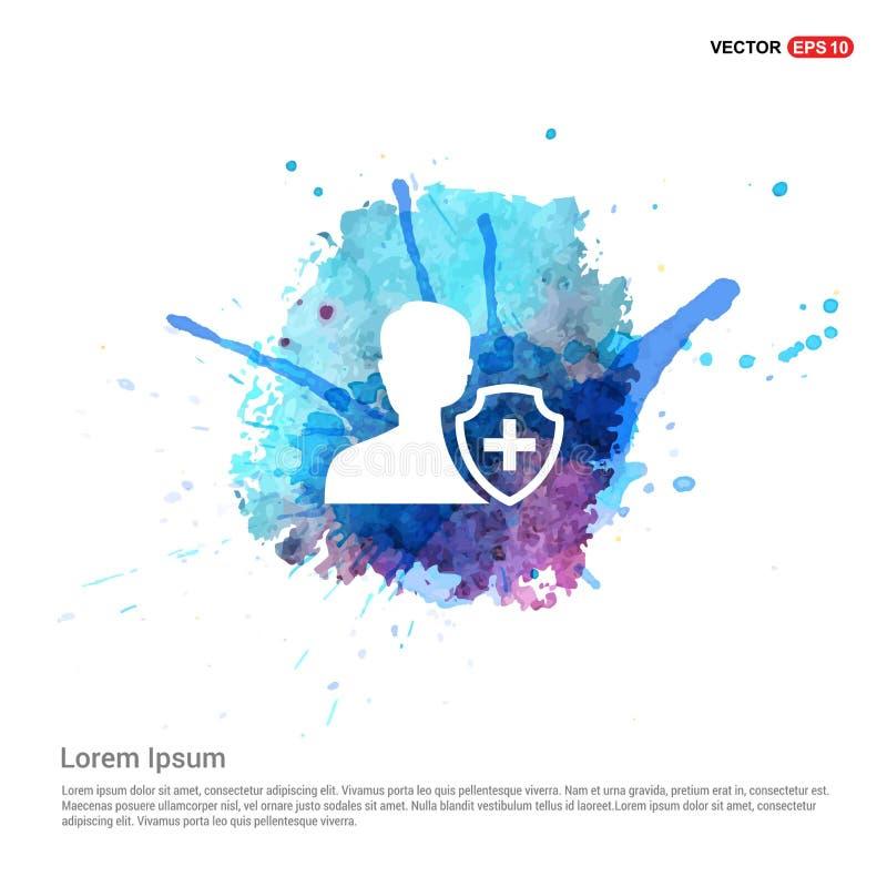 Icona di assicurazione dell'utente - fondo dell'acquerello illustrazione vettoriale