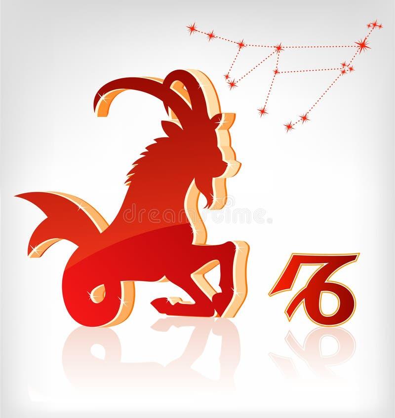 Icona di astrologia dello zodiaco del Capricorn per il horoscope illustrazione vettoriale