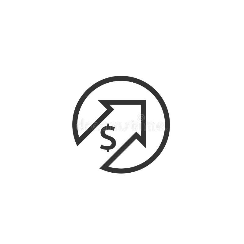 icona di aumento del dollaro Simbolo dei soldi con la freccia che allunga aumentare su Icona di vendita di costo di affari Illust illustrazione vettoriale