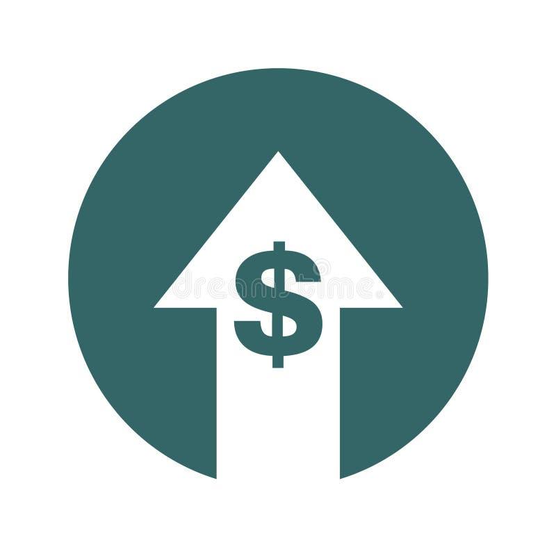 Icona di aumento di simbolo di costo Immagine di simbolo di vettore isolata su fondo illustrazione vettoriale