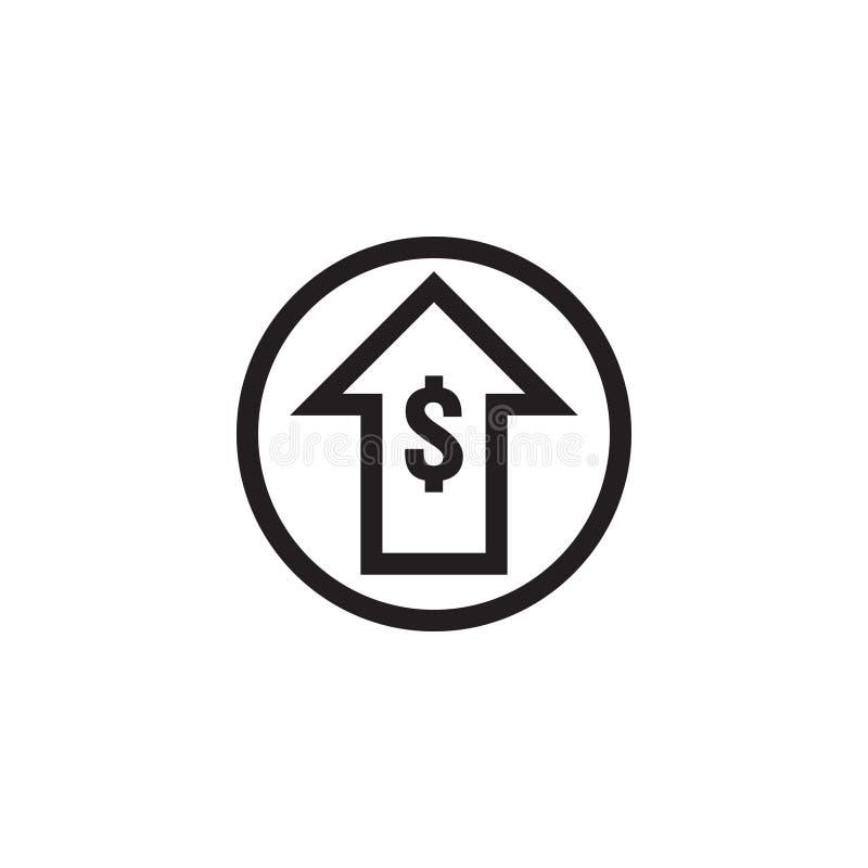 icona di aumento di tasso del dollaro Simbolo dei soldi con l'allungamento della freccia su prezzi in aumento Icona di vendita di illustrazione vettoriale