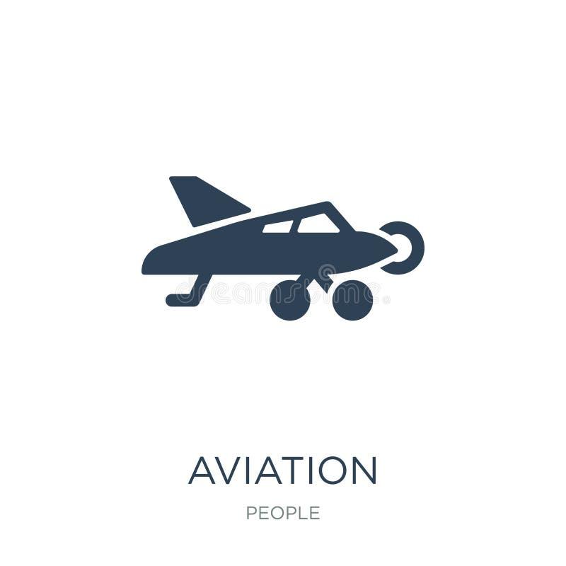 icona di aviazione nello stile d'avanguardia di progettazione icona di aviazione isolata su fondo bianco piano semplice e moderno illustrazione di stock