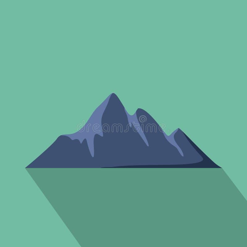 Icona di avventura della montagna, stile piano illustrazione di stock