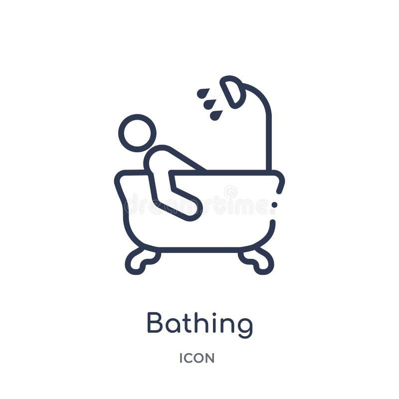 Icona di bagno lineare dalla raccolta del profilo di feste Linea sottile che bagna icona isolata su fondo bianco bagno d'avanguar illustrazione di stock