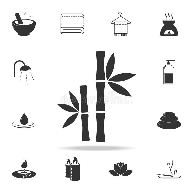 Icona di bambù dell'albero Insieme dettagliato delle icone della STAZIONE TERMALE Progettazione grafica di qualità premio Una del illustrazione vettoriale