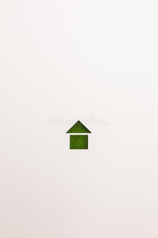 Icona di base della casa del velluto verde su fondo bianco immagine stock libera da diritti
