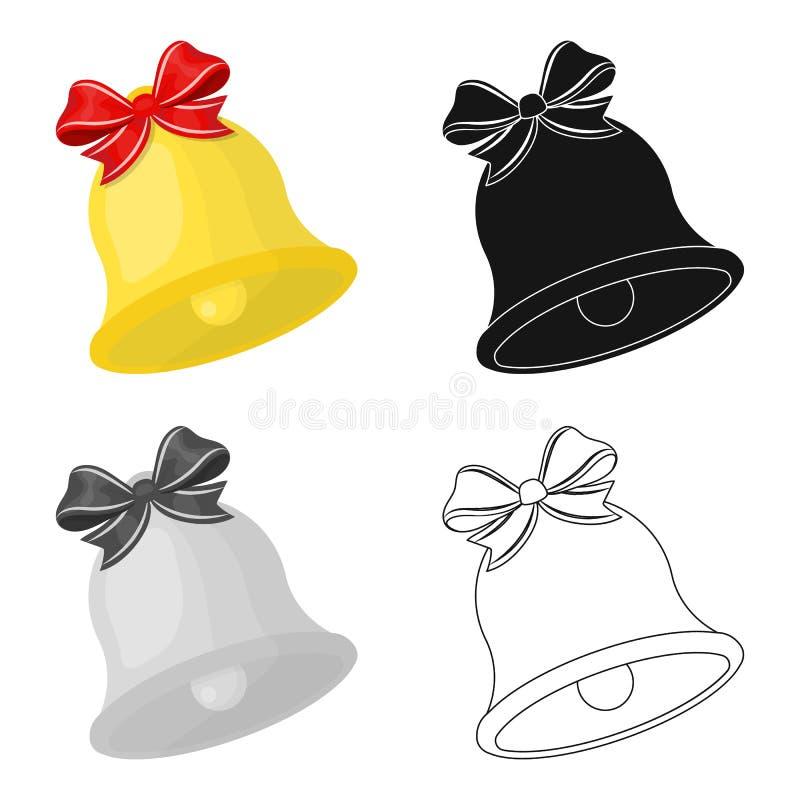 Icona di Bell di Natale nel fumetto, il nero, stile piano e monocromatico per progettazione Illustrazione delle azione di simbolo illustrazione di stock