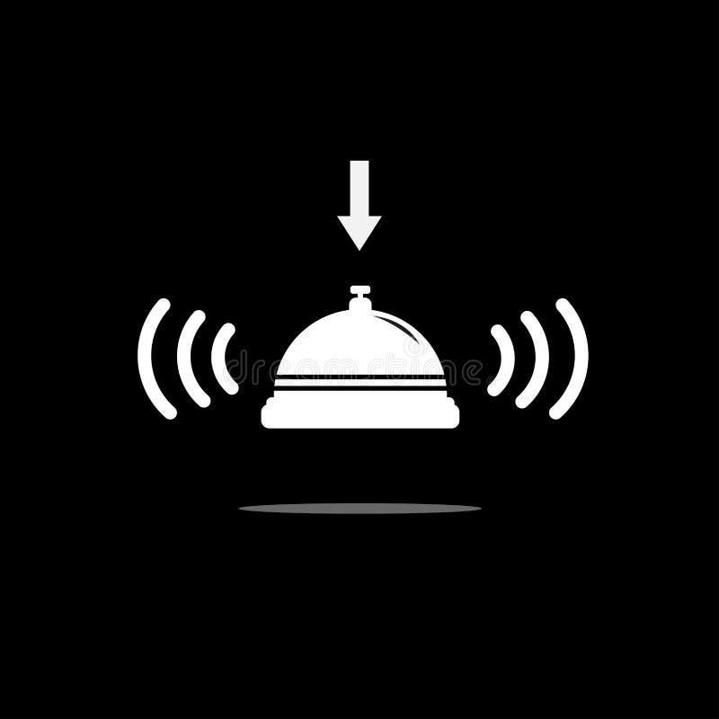 Icona di Bell su fondo nero Indicatore luminoso di vettore art royalty illustrazione gratis
