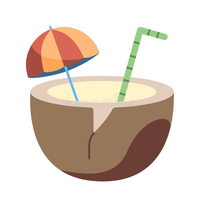 Icona Di Icona Di Bevanda Di Coconut Su Vignetta Isolata illustrazione di stock