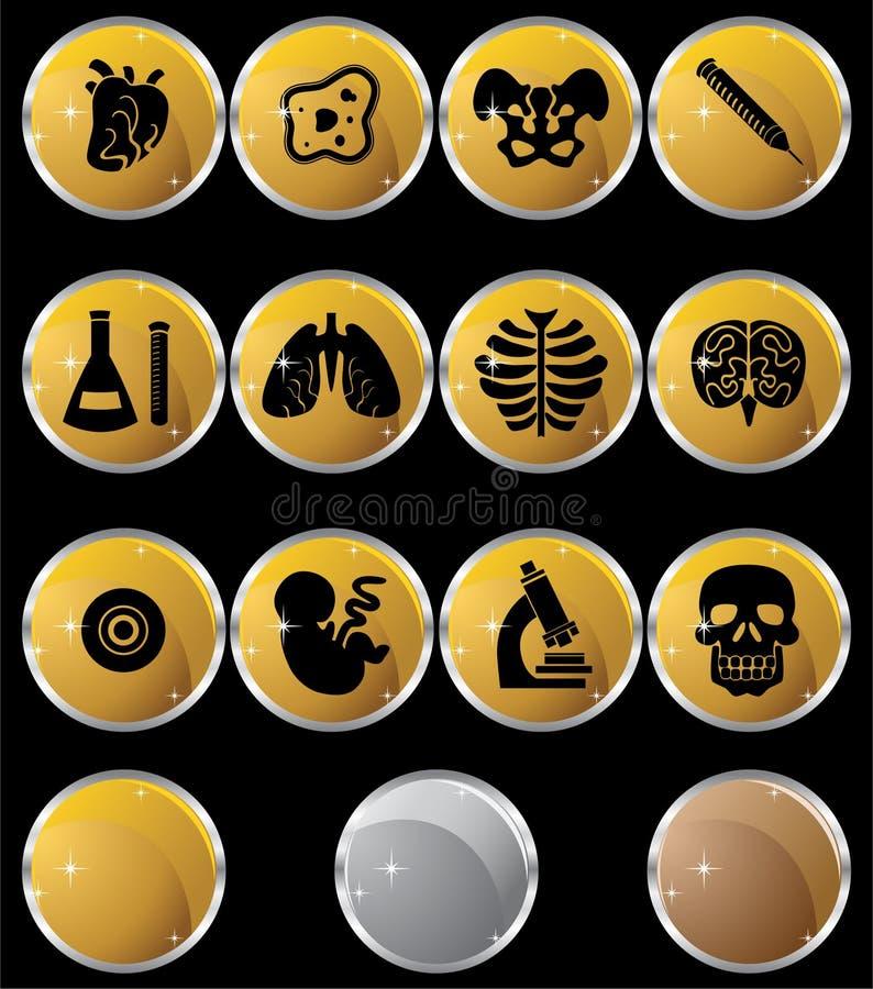 Icona di biologia impostata - tasti dell'oro royalty illustrazione gratis