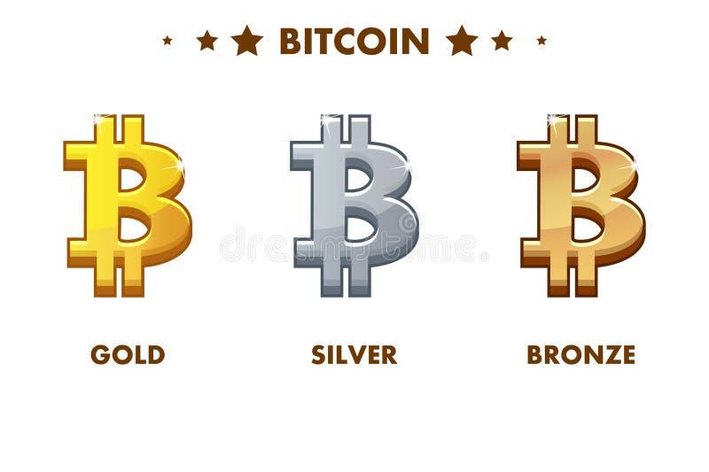 Icona di Bitcoin dell'oro, dell'argento e del bronzo Digital o contanti elettronici virtuali e di valuta royalty illustrazione gratis