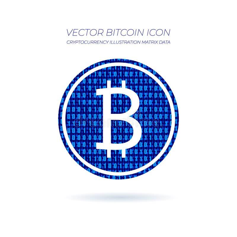 Icona di Bitcoin di vettore, modello blu di dati matriciali, arte grafica concettuale illustrazione vettoriale