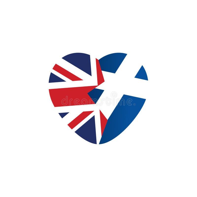 Icona di Brexit Bandierina britannica Bandiera dello Scottish Cuore rotto, simbolo dell'uscita imminente della Scozia dalla Gran  illustrazione di stock