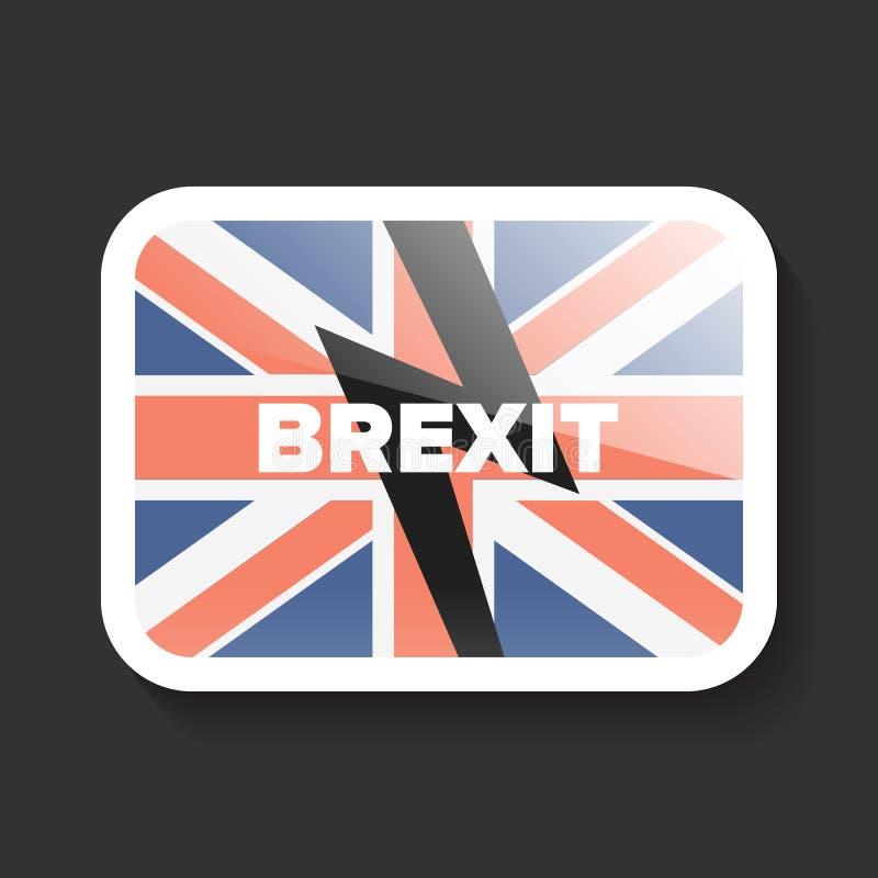 Icona di Brexit con la bandiera BRITANNICA illustrazione vettoriale