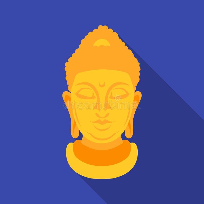 Icona di Buddha nello stile piano isolata su fondo bianco Illustrazione di vettore delle azione di simbolo di religione illustrazione vettoriale