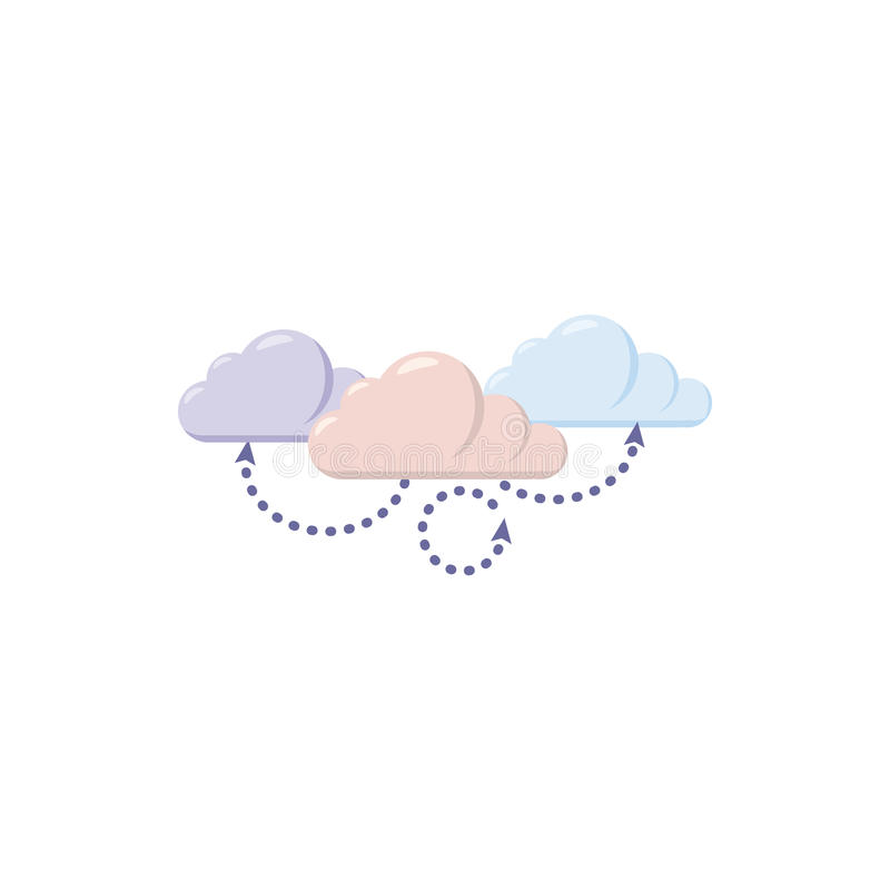 Icona di calcolo della nuvola, stile del fumetto illustrazione vettoriale