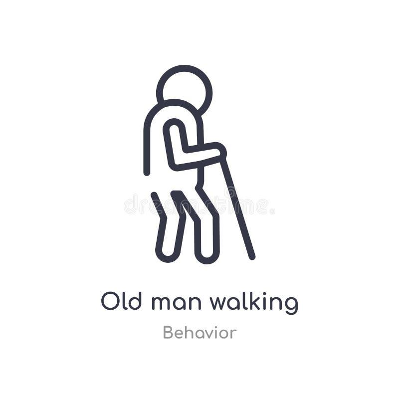 icona di camminata del profilo dell'uomo anziano linea isolata illustrazione di vettore dalla raccolta di comportamento camminata illustrazione vettoriale