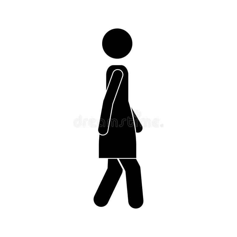 Icona di camminata della donna nera della siluetta illustrazione di stock