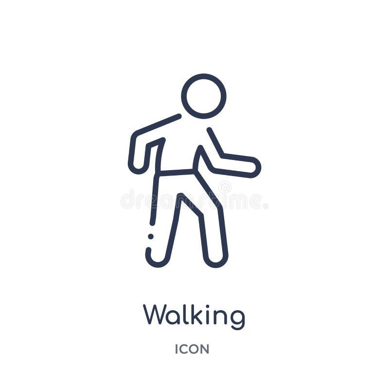 Icona di camminata lineare da attività e dalla raccolta del profilo di hobby Linea sottile vettore di camminata isolato su fondo  illustrazione di stock