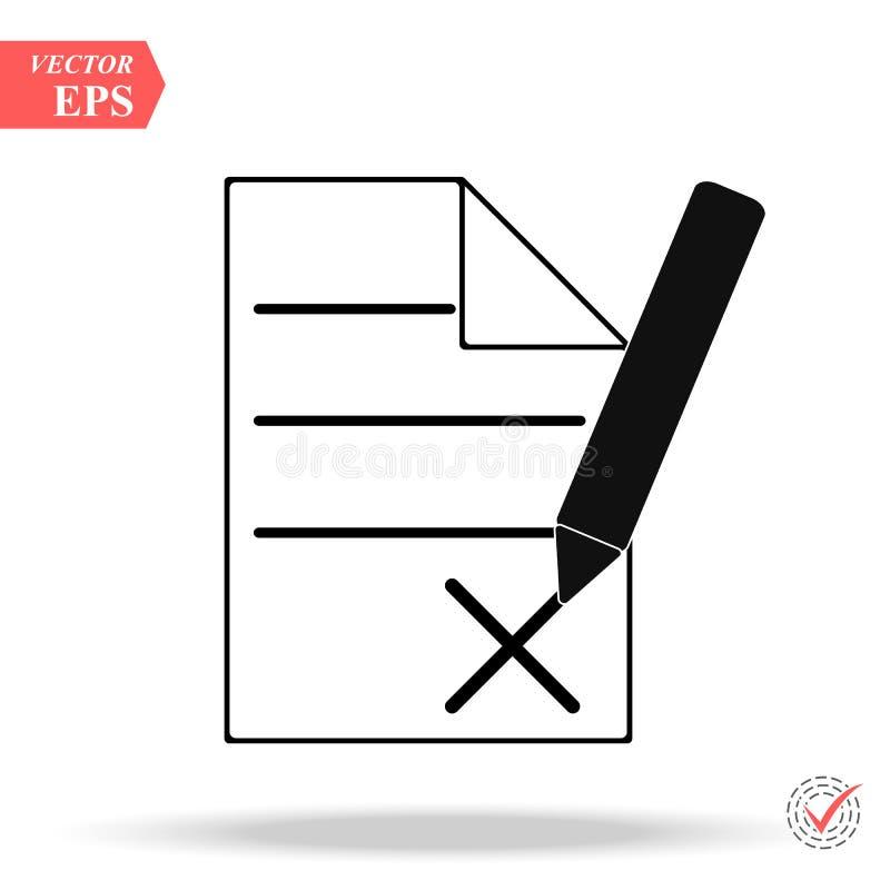 Icona di cancellazione dell'archivio o del testo nella progettazione semplice del profilo Illustrazione di vettore EPS10 illustrazione di stock