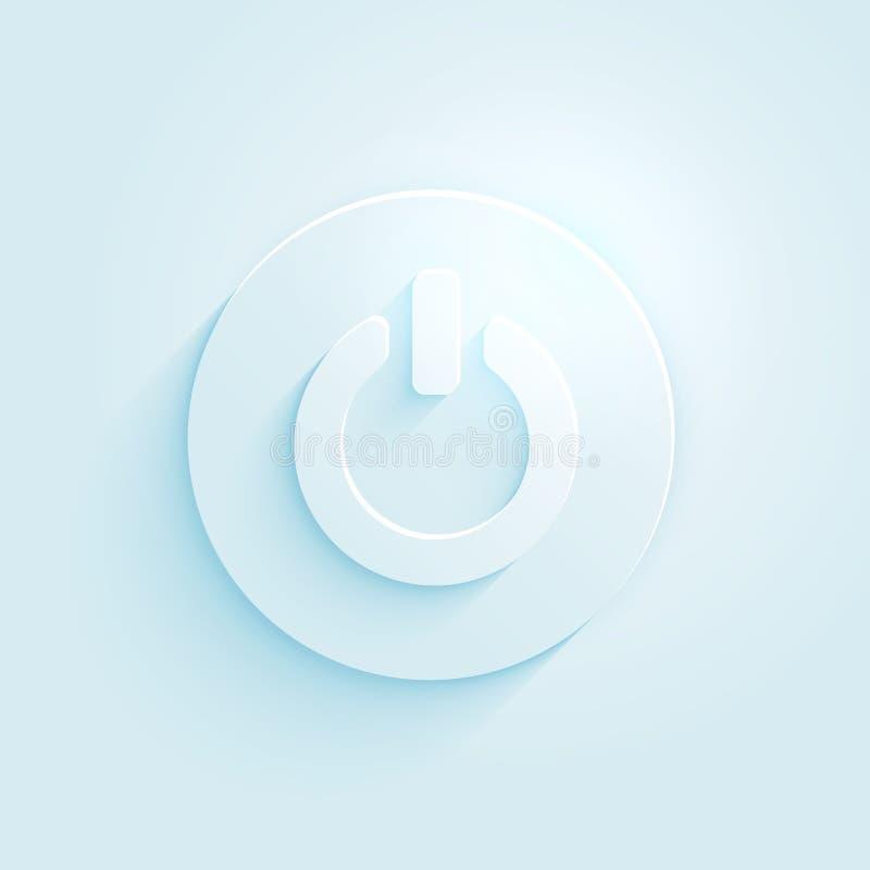 Icona di carta astratta di vettore del bottone di potere di stile. Spenga il simbolo. royalty illustrazione gratis