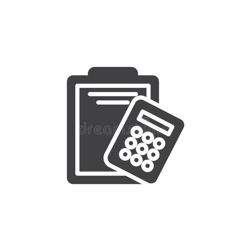 Icona di carta di vettore del calcolatore e della lavagna per appunti illustrazione di stock
