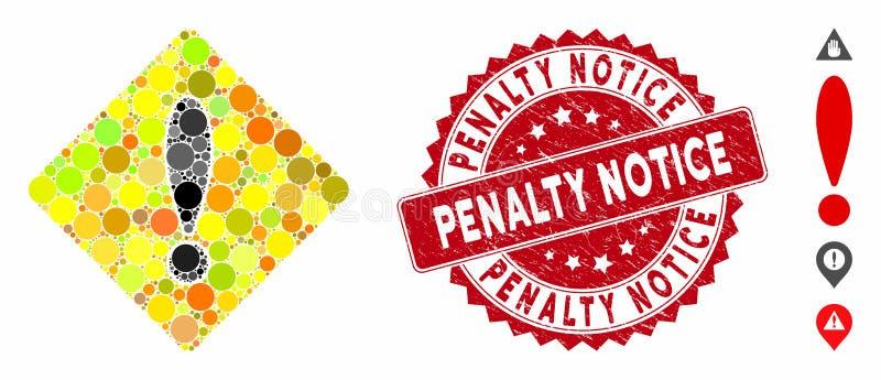 Icona di cautela mosaica con indicatore di avviso per la pena di sofferenza royalty illustrazione gratis