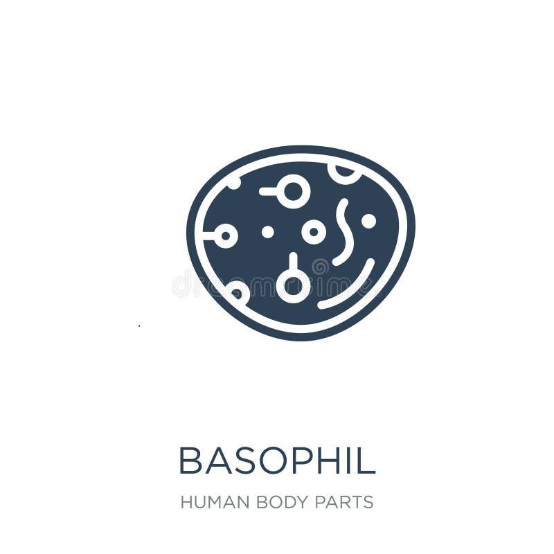 icona di cellula basofila nello stile d'avanguardia di progettazione Icona di cellula basofila isolata su fondo bianco piano semp illustrazione vettoriale