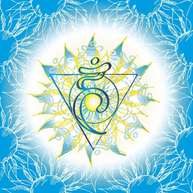 Icona di Chakra Vishuddha, simbolo ayurvedic, modello di fiore illustrazione di stock