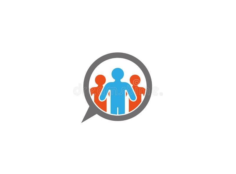Icona di chiacchierata della comunità della gente per progettazione di logo illustrazione di stock