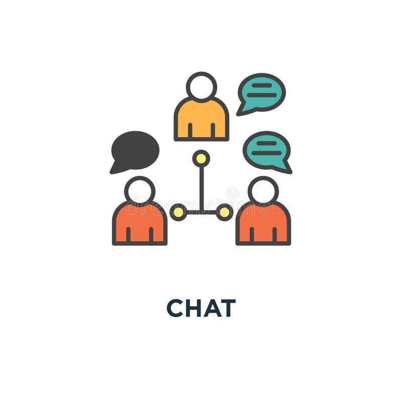 Icona di chiacchierata il collegamento, lavoro di gruppo, discorso, siluette della gente con le bolle è unito dalle frecce, proge illustrazione di stock
