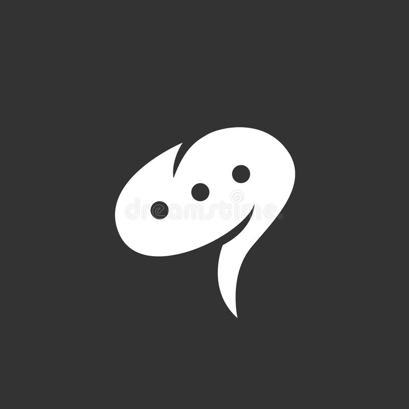 Icona di chiacchierata isolata su un fondo nero immagini stock libere da diritti