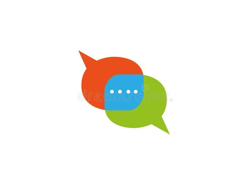Icona di chiacchierata per una società di comunicazione e simbolo del messaggio per progettazione di logo illustrazione di stock