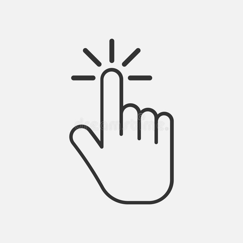 Icona di clic Icona della mano Isolato su fondo Illustrazione di vettore illustrazione di stock