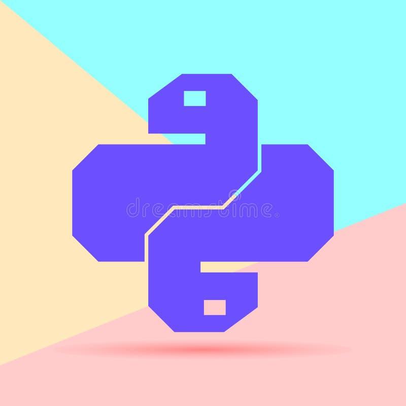 Icona di codice del pitone colorata pastello piano di minimalismo Serpente d'avanguardia VE royalty illustrazione gratis