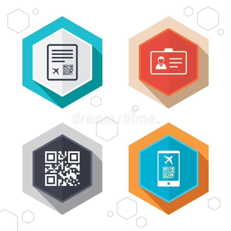 Icona di codice di ricerca di QR Segno di volo del passaggio di imbarco illustrazione di stock