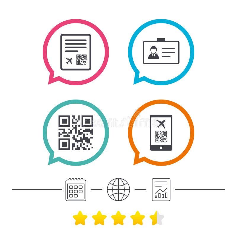 Icona di codice di ricerca di QR Segno di volo del passaggio di imbarco royalty illustrazione gratis